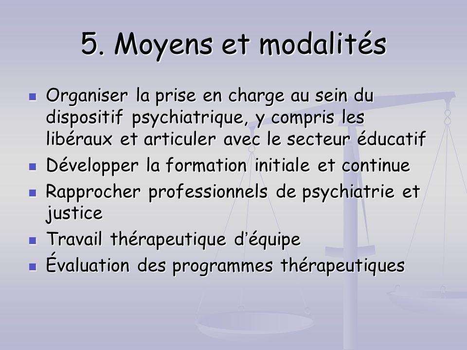 5. Moyens et modalités Organiser la prise en charge au sein du dispositif psychiatrique, y compris les libéraux et articuler avec le secteur éducatif