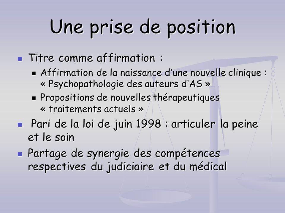Une prise de position Titre comme affirmation : Titre comme affirmation : Affirmation de la naissance dune nouvelle clinique : « Psychopathologie des