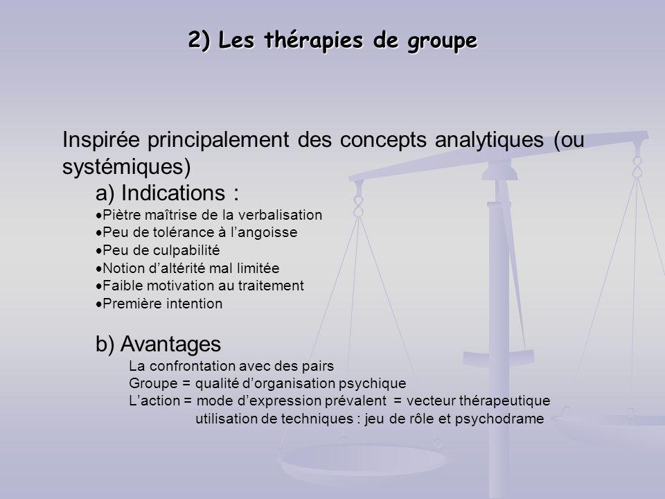 2) Les thérapies de groupe Inspirée principalement des concepts analytiques (ou systémiques) a) Indications : Piètre maîtrise de la verbalisation Peu