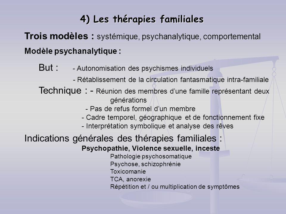 4) Les thérapies familiales Trois modèles : systémique, psychanalytique, comportemental Modèle psychanalytique : But : - Autonomisation des psychismes