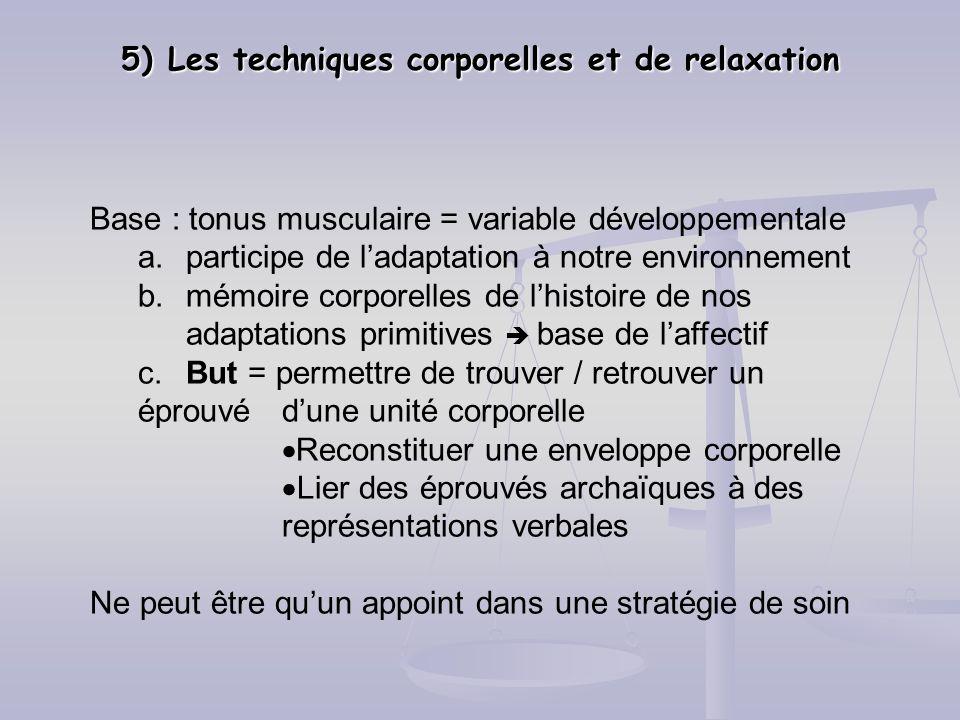 5) Les techniques corporelles et de relaxation Base : tonus musculaire = variable développementale a.participe de ladaptation à notre environnement b.