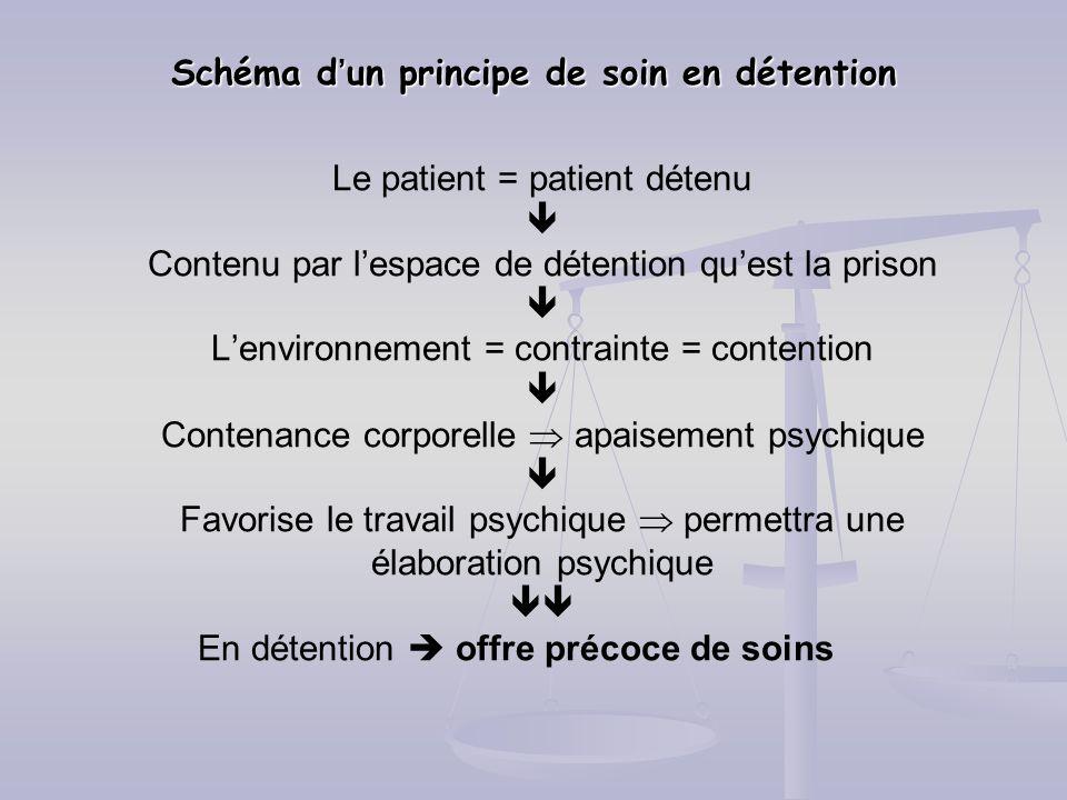 Schéma dun principe de soin en détention Le patient = patient détenu Contenu par lespace de détention quest la prison Lenvironnement = contrainte = co