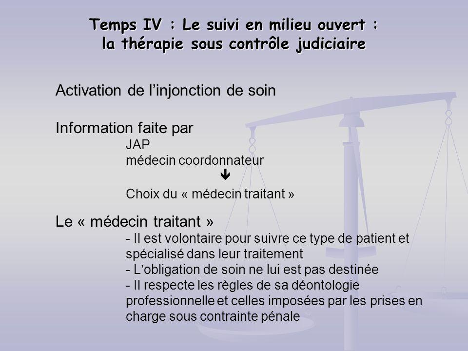 Temps IV : Le suivi en milieu ouvert : la thérapie sous contrôle judiciaire Activation de linjonction de soin Information faite par JAP médecin coordo