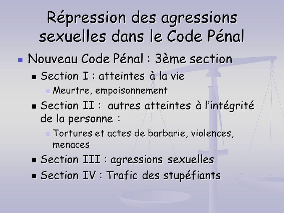 Répression des agressions sexuelles dans le Code Pénal Nouveau Code Pénal : 3ème section Nouveau Code Pénal : 3ème section Section I : atteintes à la