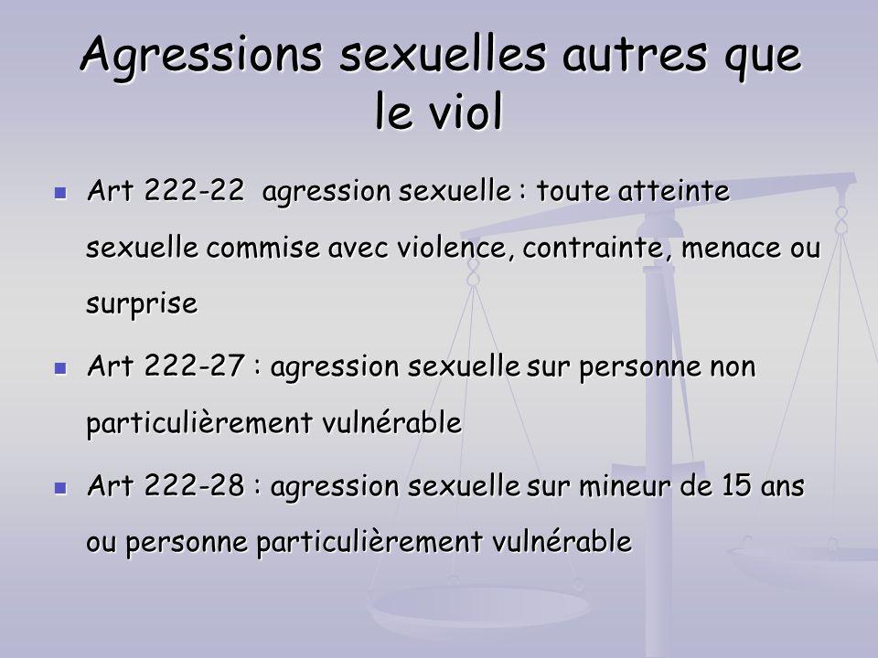 Agressions sexuelles autres que le viol Art 222-22 agression sexuelle : toute atteinte sexuelle commise avec violence, contrainte, menace ou surprise
