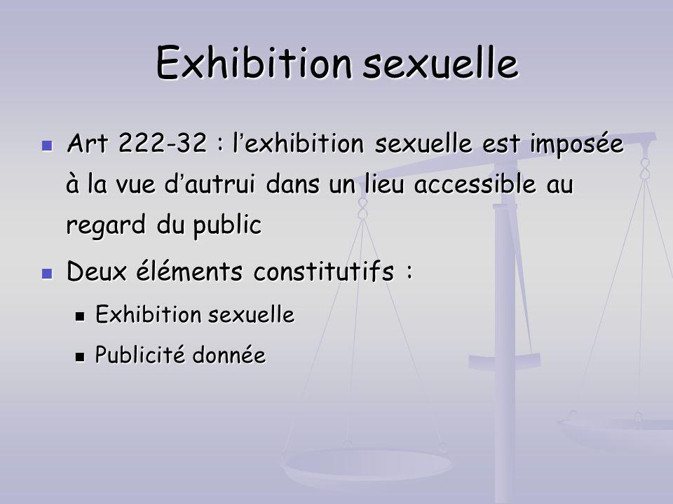 Exhibition sexuelle Art 222-32 : lexhibition sexuelle est imposée à la vue dautrui dans un lieu accessible au regard du public Art 222-32 : lexhibitio