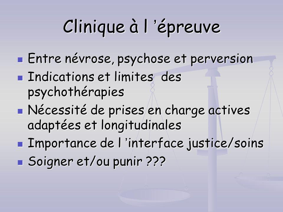 Clinique à l épreuve Entre névrose, psychose et perversion Entre névrose, psychose et perversion Indications et limites des psychothérapies Indication