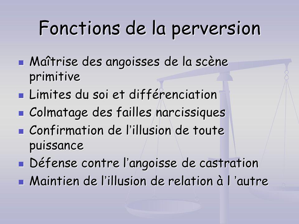 Fonctions de la perversion Maîtrise des angoisses de la scène primitive Maîtrise des angoisses de la scène primitive Limites du soi et différenciation