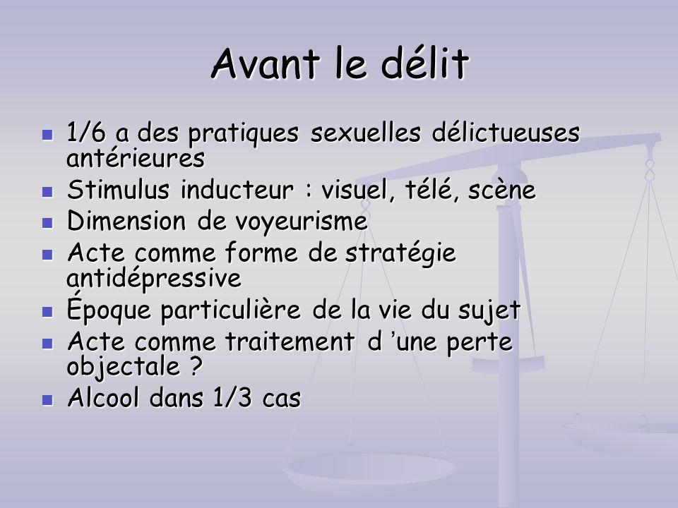 Avant le délit 1/6 a des pratiques sexuelles délictueuses antérieures 1/6 a des pratiques sexuelles délictueuses antérieures Stimulus inducteur : visu