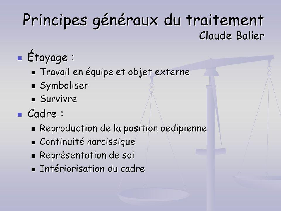 Principes généraux du traitement Claude Balier Étayage : Étayage : Travail en équipe et objet externe Travail en équipe et objet externe Symboliser Sy