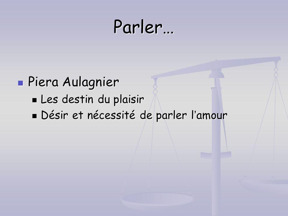 Parler… Piera Aulagnier Piera Aulagnier Les destin du plaisir Les destin du plaisir Désir et nécessité de parler lamour Désir et nécessité de parler l