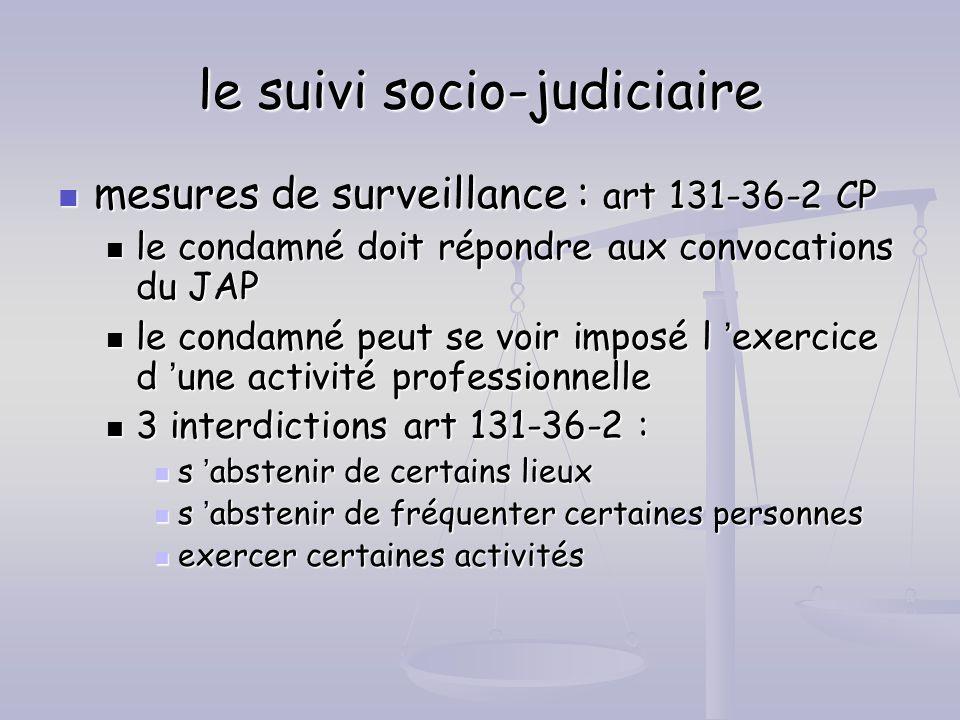 le suivi socio-judiciaire mesures de surveillance : art 131-36-2 CP mesures de surveillance : art 131-36-2 CP le condamné doit répondre aux convocatio