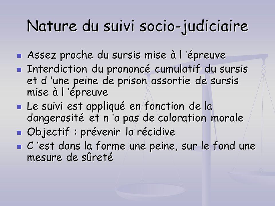 Nature du suivi socio-judiciaire Assez proche du sursis mise à l épreuve Assez proche du sursis mise à l épreuve Interdiction du prononcé cumulatif du