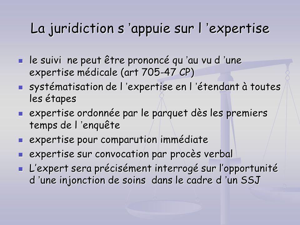 La juridiction s appuie sur l expertise le suivi ne peut être prononcé qu au vu d une expertise médicale (art 705-47 CP) le suivi ne peut être prononc