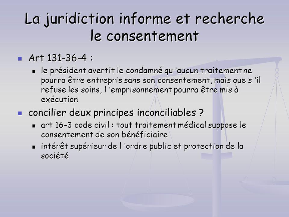 La juridiction informe et recherche le consentement Art 131-36-4 : Art 131-36-4 : le président avertit le condamné qu aucun traitement ne pourra être