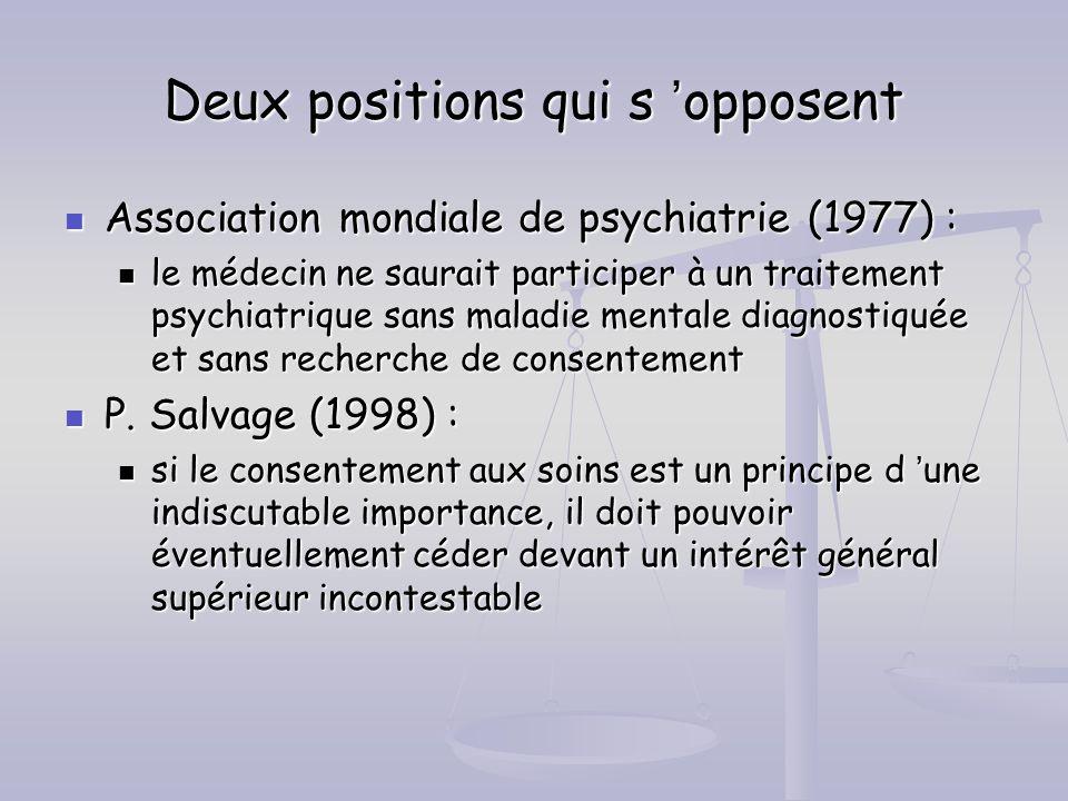 Deux positions qui s opposent Association mondiale de psychiatrie (1977) : Association mondiale de psychiatrie (1977) : le médecin ne saurait particip