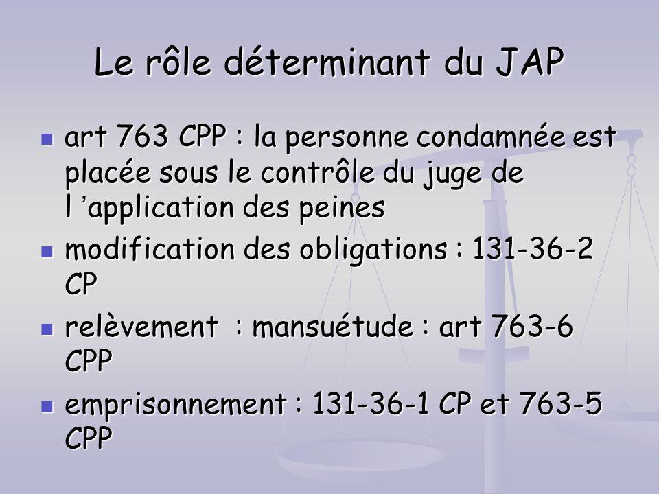 Le rôle déterminant du JAP art 763 CPP : la personne condamnée est placée sous le contrôle du juge de l application des peines art 763 CPP : la person