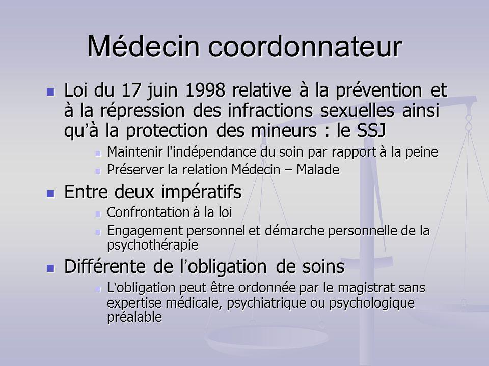 Médecin coordonnateur Loi du 17 juin 1998 relative à la prévention et à la répression des infractions sexuelles ainsi qu à la protection des mineurs :