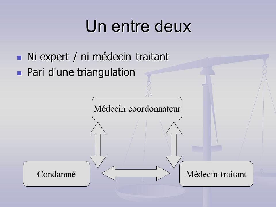 Un entre deux Ni expert / ni médecin traitant Ni expert / ni médecin traitant Pari d'une triangulation Pari d'une triangulation Médecin coordonnateur