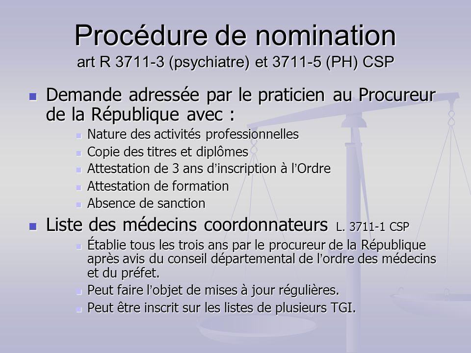 Procédure de nomination art R 3711-3 (psychiatre) et 3711-5 (PH) CSP Demande adressée par le praticien au Procureur de la République avec : Demande ad