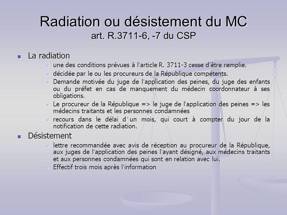 Radiation ou désistement du MC art. R.3711-6, -7 du CSP La radiation La radiation une des conditions prévues à l article R. 3711-3 cesse d être rempli
