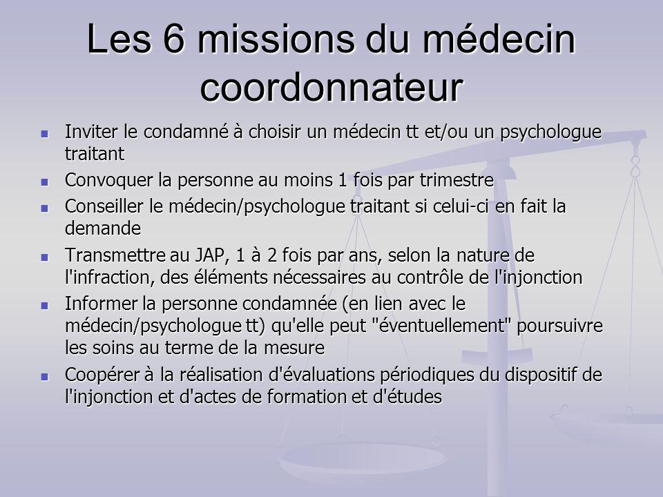 Les 6 missions du médecin coordonnateur Inviter le condamné à choisir un médecin tt et/ou un psychologue traitant Inviter le condamné à choisir un méd