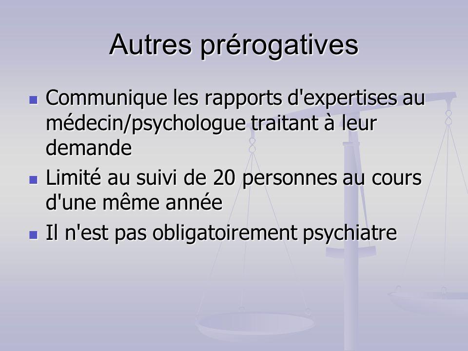 Autres prérogatives Communique les rapports d'expertises au médecin/psychologue traitant à leur demande Communique les rapports d'expertises au médeci