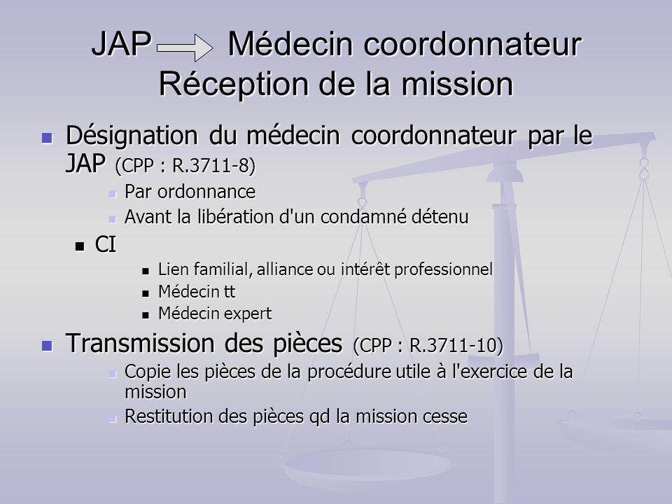 JAP Médecin coordonnateur Réception de la mission Désignation du médecin coordonnateur par le JAP (CPP : R.3711-8) Désignation du médecin coordonnateu