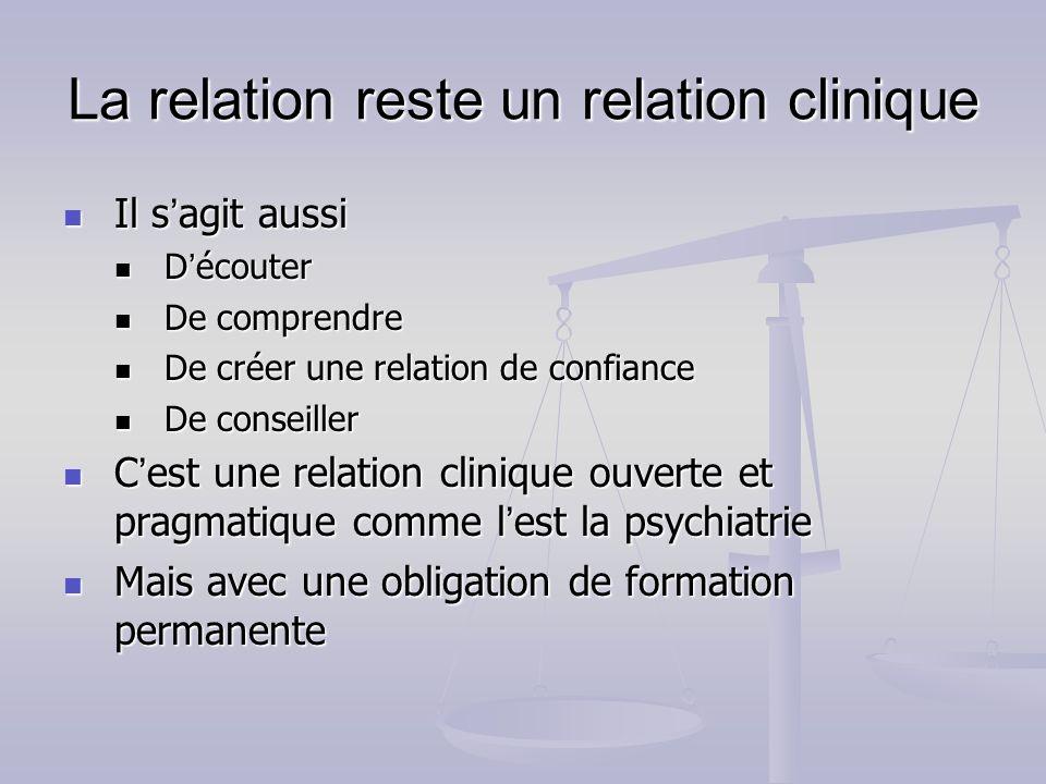 La relation reste un relation clinique Il s agit aussi Il s agit aussi D écouter D écouter De comprendre De comprendre De créer une relation de confia