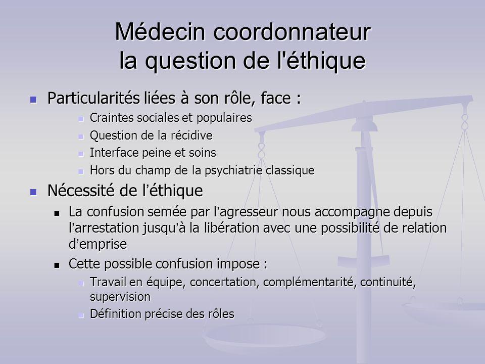 Médecin coordonnateur la question de l'éthique Particularités liées à son rôle, face : Particularités liées à son rôle, face : Craintes sociales et po