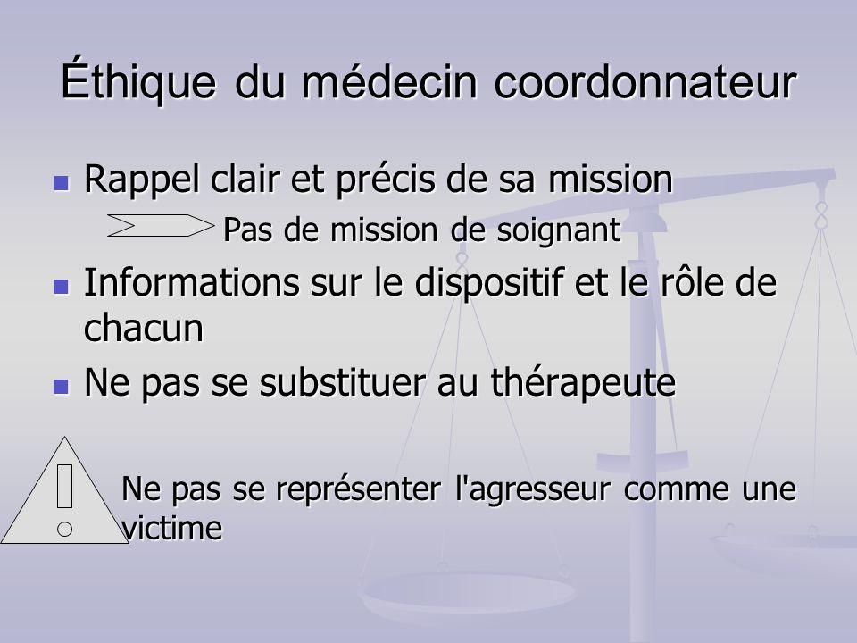 Éthique du médecin coordonnateur Rappel clair et précis de sa mission Rappel clair et précis de sa mission Pas de mission de soignant Informations sur