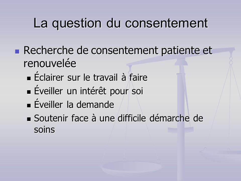 La question du consentement Recherche de consentement patiente et renouvelée Recherche de consentement patiente et renouvelée Éclairer sur le travail