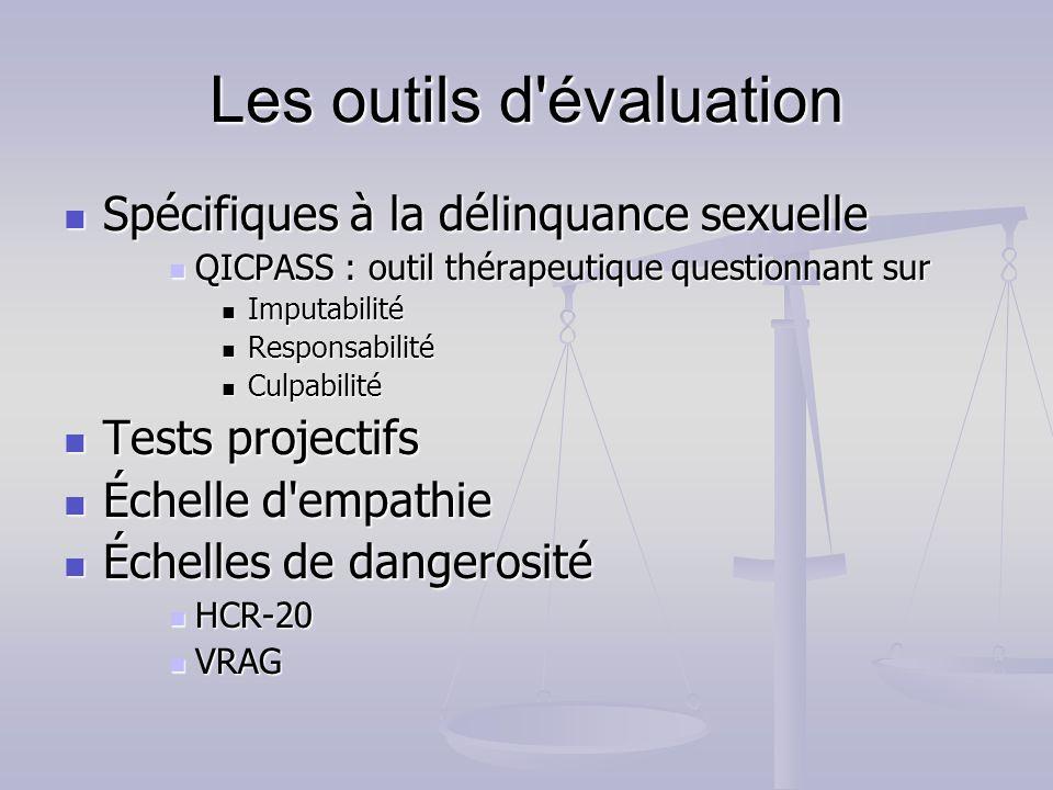 Les outils d'évaluation Spécifiques à la délinquance sexuelle Spécifiques à la délinquance sexuelle QICPASS : outil thérapeutique questionnant sur QIC