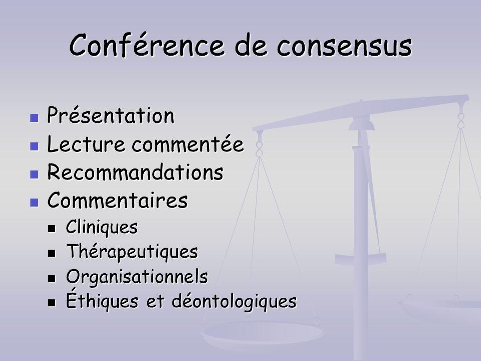 Conférence de consensus Présentation Présentation Lecture commentée Lecture commentée Recommandations Recommandations Commentaires Commentaires Cliniq