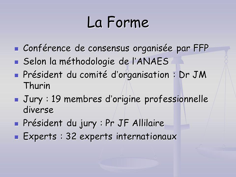 La Forme Conférence de consensus organisée par FFP Conférence de consensus organisée par FFP Selon la méthodologie de lANAES Selon la méthodologie de