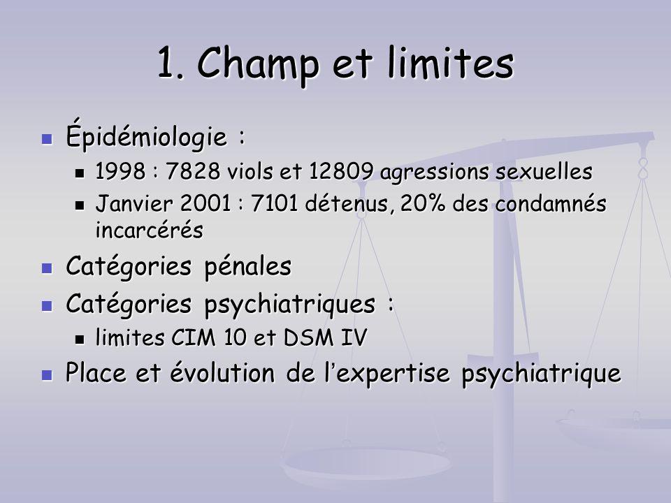 1. Champ et limites Épidémiologie : Épidémiologie : 1998 : 7828 viols et 12809 agressions sexuelles 1998 : 7828 viols et 12809 agressions sexuelles Ja