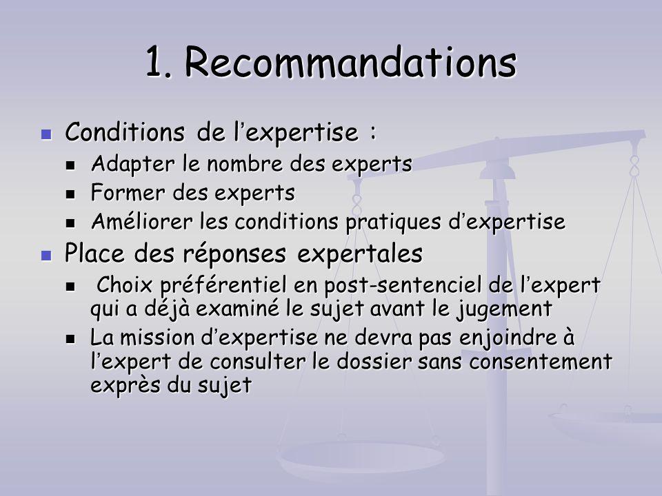 1. Recommandations Conditions de lexpertise : Conditions de lexpertise : Adapter le nombre des experts Adapter le nombre des experts Former des expert
