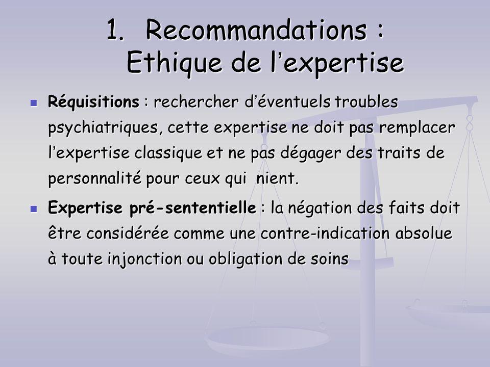 1.Recommandations : Ethique de lexpertise Réquisitions : rechercher déventuels troubles psychiatriques, cette expertise ne doit pas remplacer lexperti