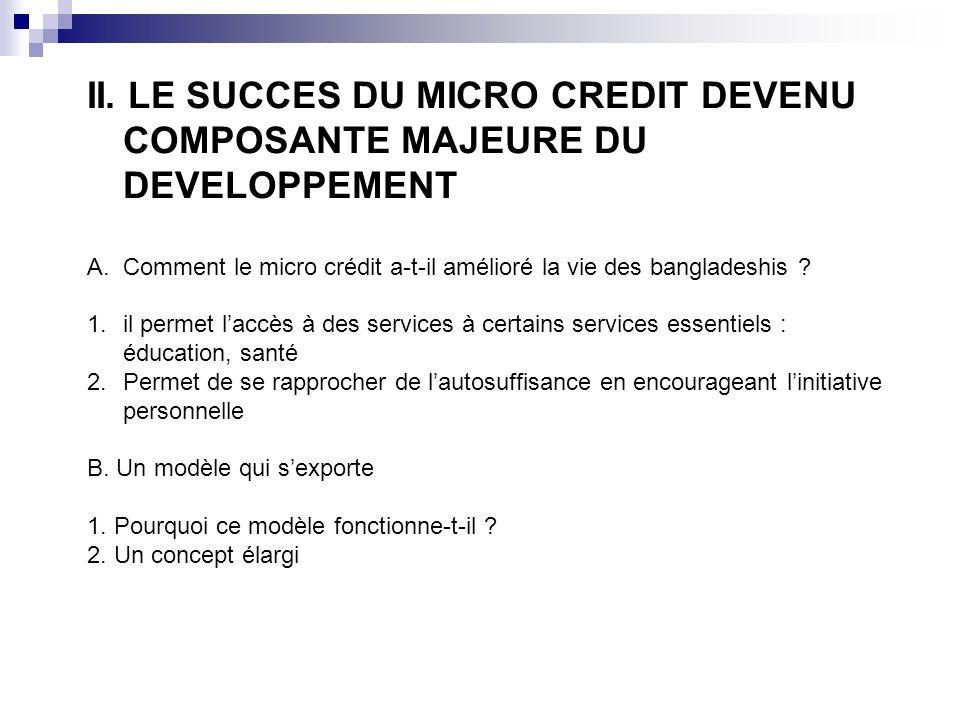 II. LE SUCCES DU MICRO CREDIT DEVENU COMPOSANTE MAJEURE DU DEVELOPPEMENT A.Comment le micro crédit a-t-il amélioré la vie des bangladeshis ? 1.il perm