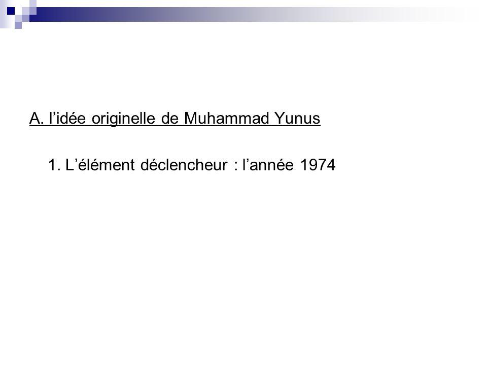 A. lidée originelle de Muhammad Yunus 1. Lélément déclencheur : lannée 1974