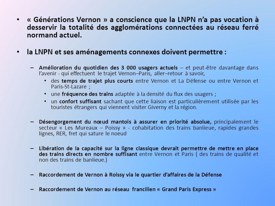 « Générations Vernon » a conscience que la LNPN na pas vocation à desservir la totalité des agglomérations connectées au réseau ferré normand actuel.
