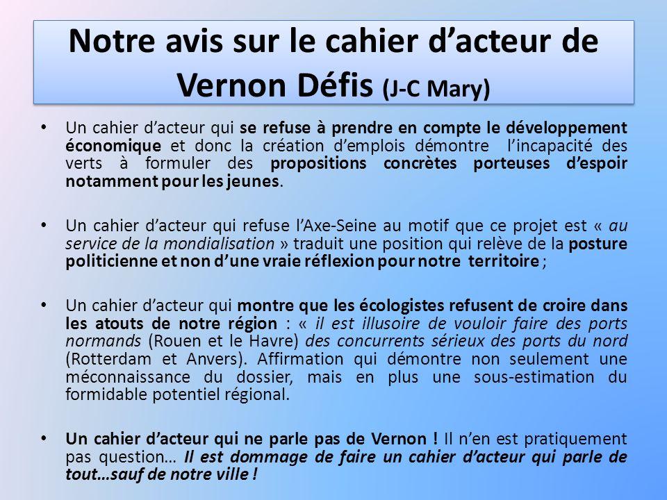 Notre avis sur le cahier dacteur de Vernon Défis (J-C Mary) Un cahier dacteur qui se refuse à prendre en compte le développement économique et donc la