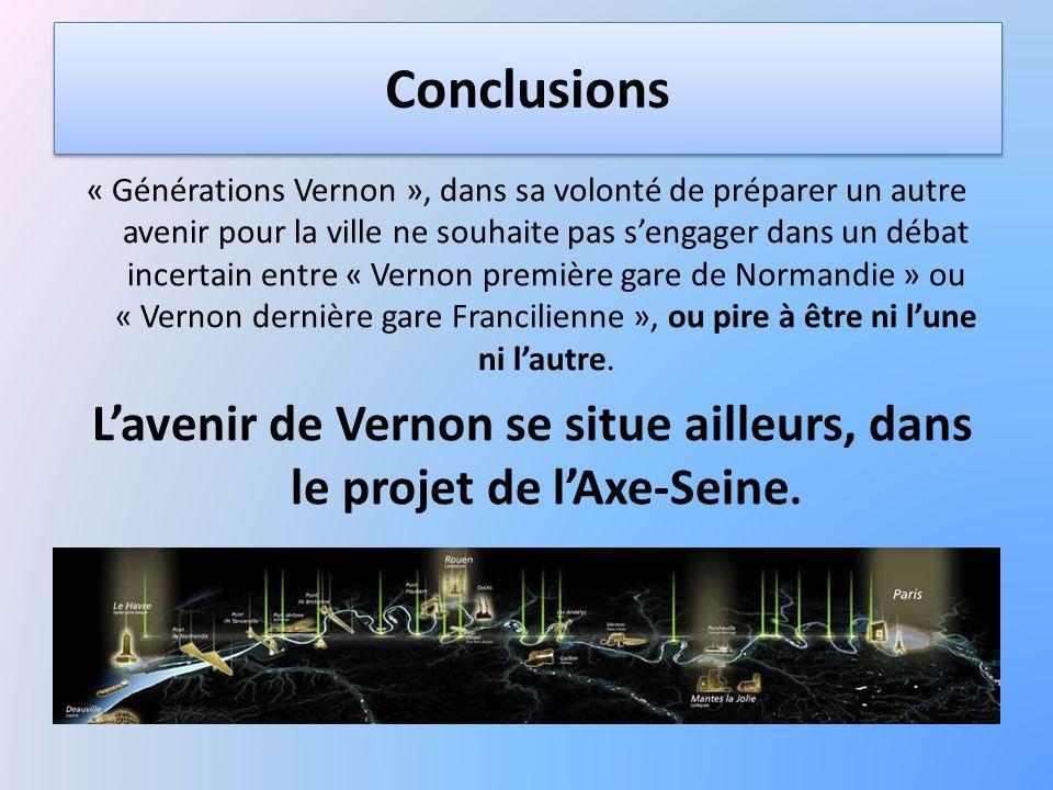Conclusions « Générations Vernon », dans sa volonté de préparer un autre avenir pour la ville ne souhaite pas sengager dans un débat incertain entre «