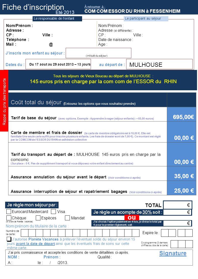 Jai pris connaissance et accepte les conditions de vente détaillées ci-après. TOTAL Signature NOM : Prénom : Qualité : A : le : / /2013. ChèqueEspèces