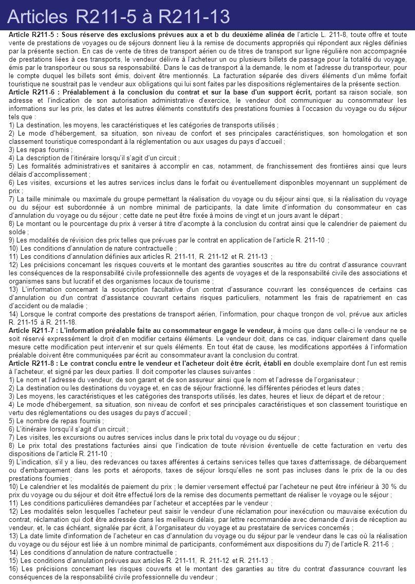 Articles R211-5 à R211-13 Article R211-5 : Sous réserve des exclusions prévues aux a et b du deuxième alinéa de l'article L. 211-8, toute offre et tou