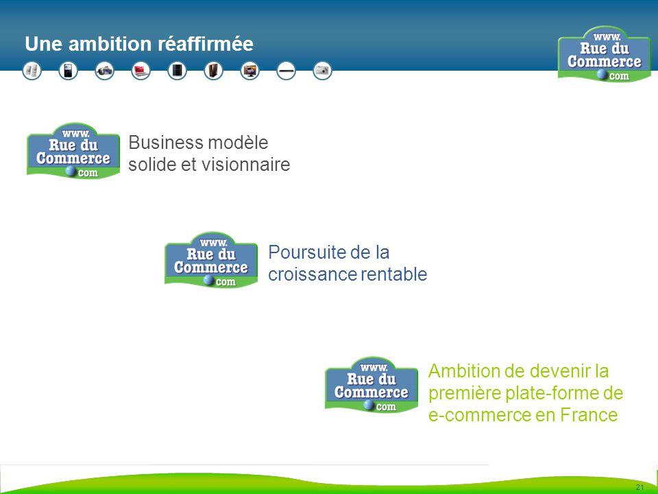 21 Une ambition réaffirmée Business modèle solide et visionnaire Poursuite de la croissance rentable Ambition de devenir la première plate-forme de e-commerce en France