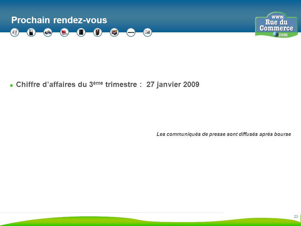 23 Prochain rendez-vous n Chiffre daffaires du 3 ème trimestre : 27 janvier 2009 Les communiqués de presse sont diffusés après bourse