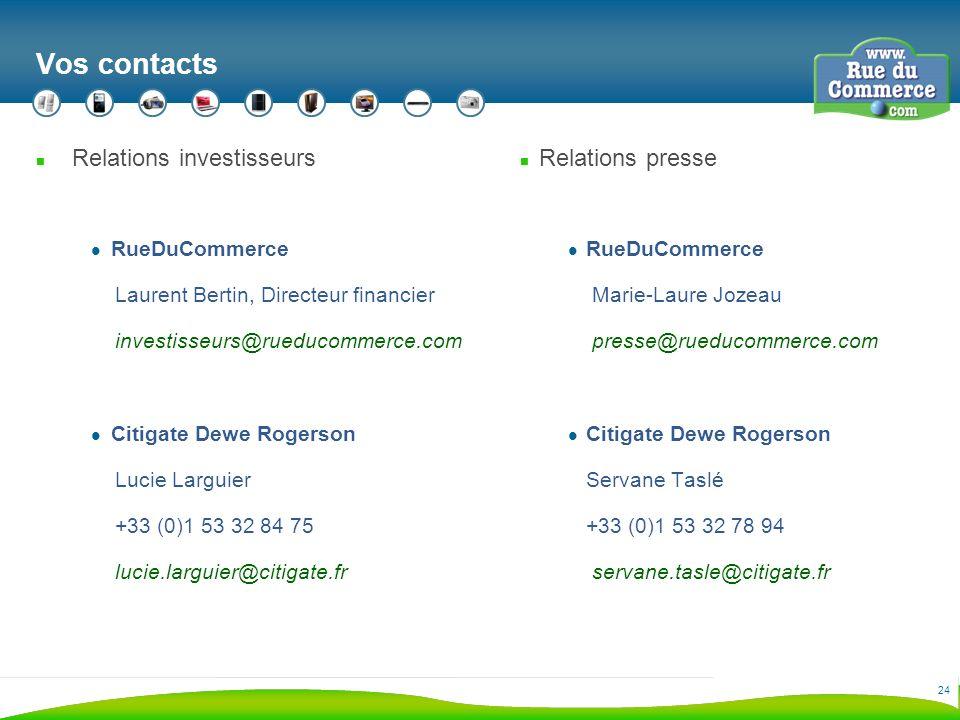 24 Vos contacts n Relations investisseurs RueDuCommerce Laurent Bertin, Directeur financier investisseurs@rueducommerce.com Citigate Dewe Rogerson Lucie Larguier +33 (0)1 53 32 84 75 lucie.larguier@citigate.fr n Relations presse RueDuCommerce Marie-Laure Jozeau presse@rueducommerce.com Citigate Dewe Rogerson Servane Taslé +33 (0)1 53 32 78 94 servane.tasle@citigate.fr