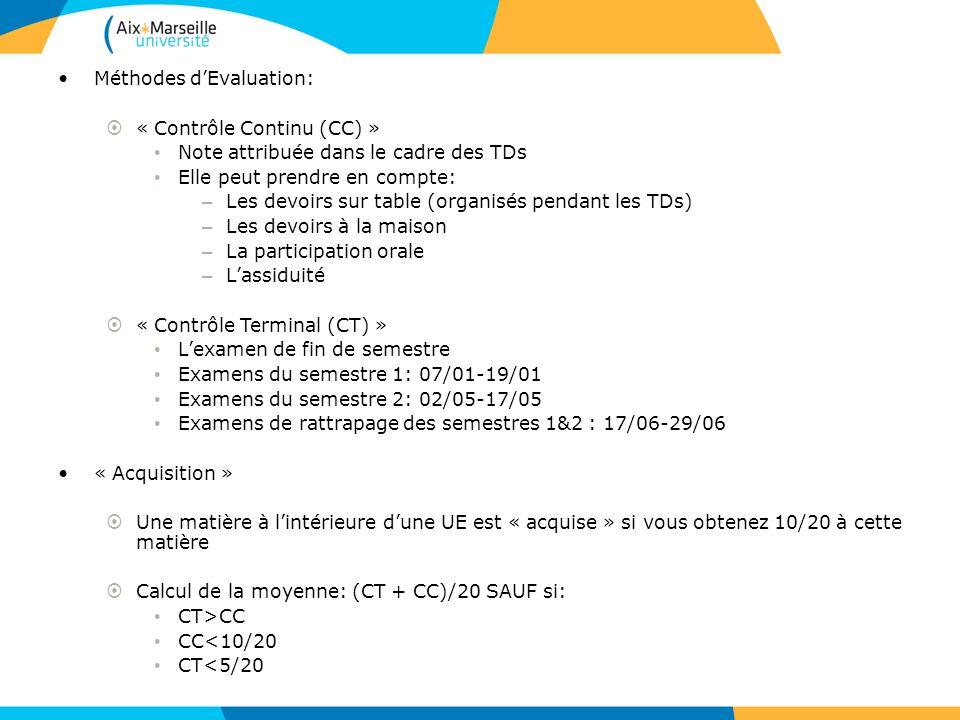 Méthodes dEvaluation: « Contrôle Continu (CC) » Note attribuée dans le cadre des TDs Elle peut prendre en compte: – Les devoirs sur table (organisés p