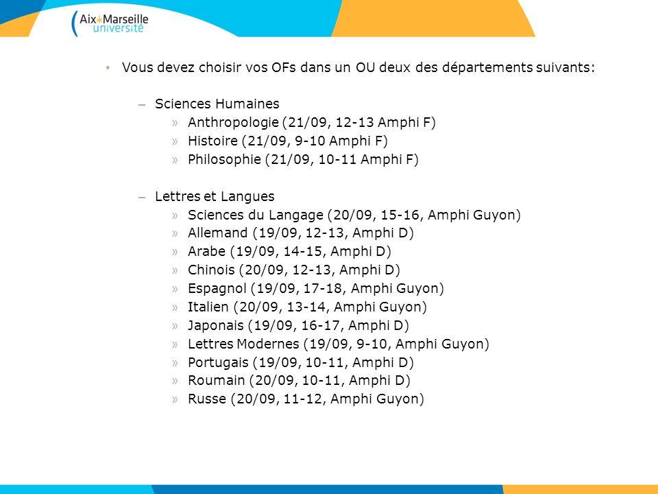 Vous devez choisir vos OFs dans un OU deux des départements suivants: – Sciences Humaines » Anthropologie (21/09, 12-13 Amphi F) » Histoire (21/09, 9-